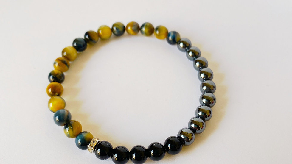 Black Onyx, Hematite and Multi-Colored Tiger Eye Bracelet
