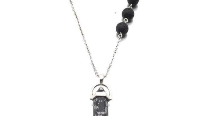 Snowflake Obsidian Black Crystal Lava Stone Necklace