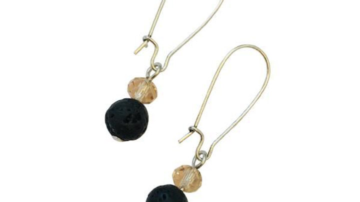 Lava Earrings (essential oil) Black