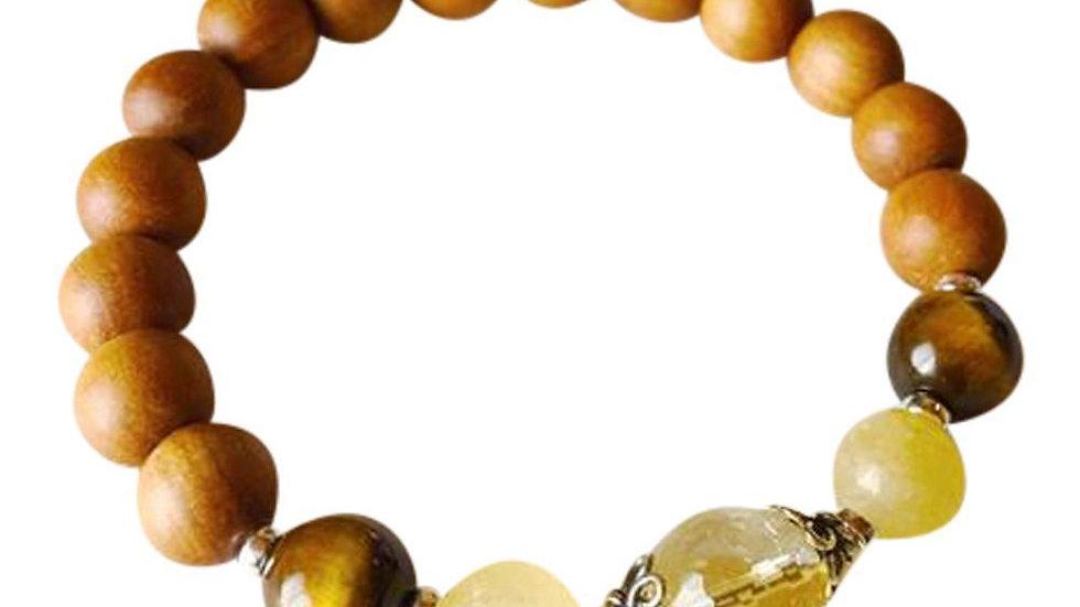 Sandalwood, Citrine, Yellow Calcite & Tiger Eye Sterling Silver