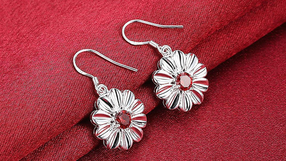 Swarovski Crystal Ruby Red Stud Earring in 18K White Gold Plated