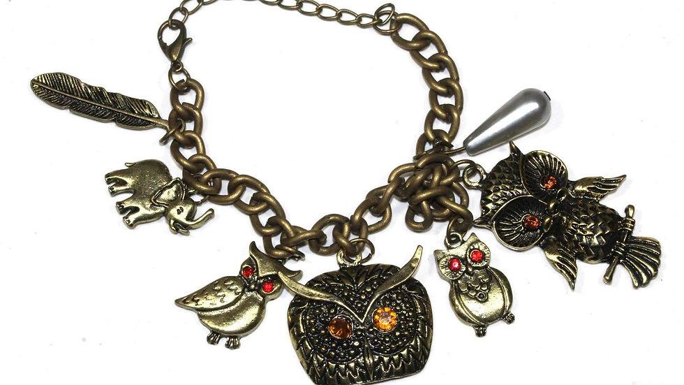 Owl, Elephant & Feather Charm Bracelet