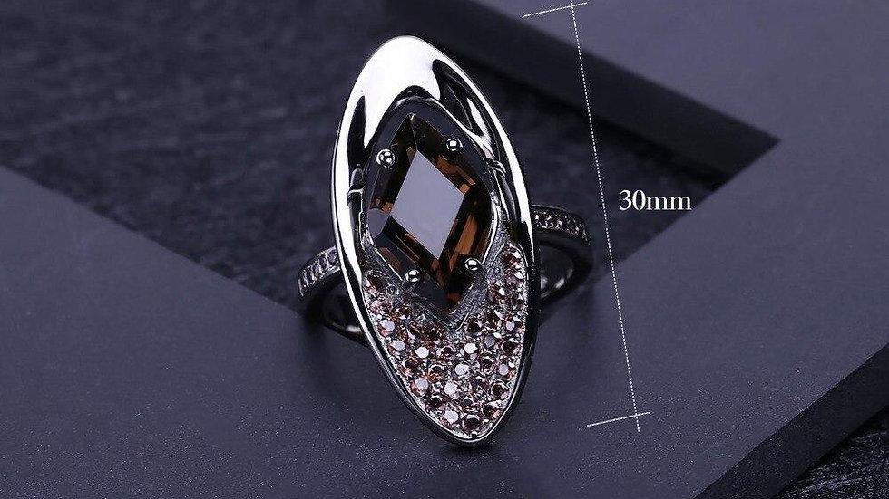 Natural Smoky Quartz Gemstone Finger Ring 925 Sterling Sliver Vintage