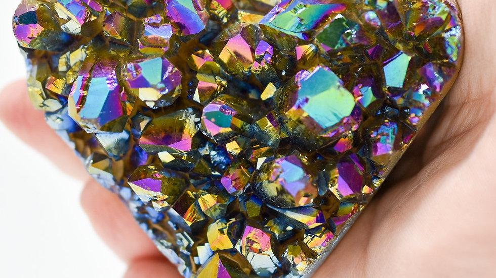 Rainbow Amethyst Druzy Heart Large