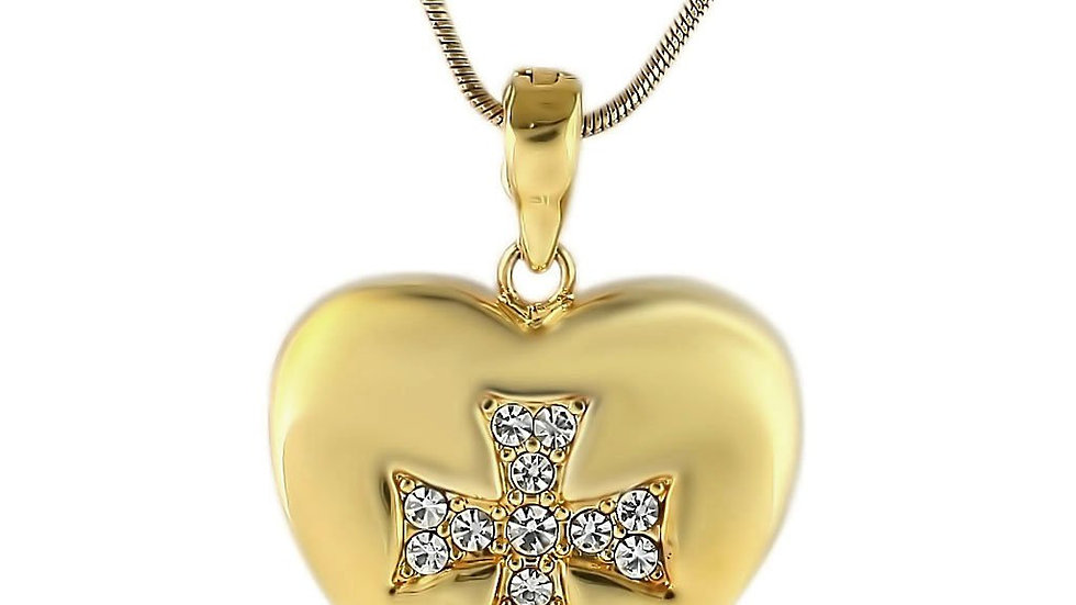 LO1183 Gold Brass Pendant with Top Grade Crystal