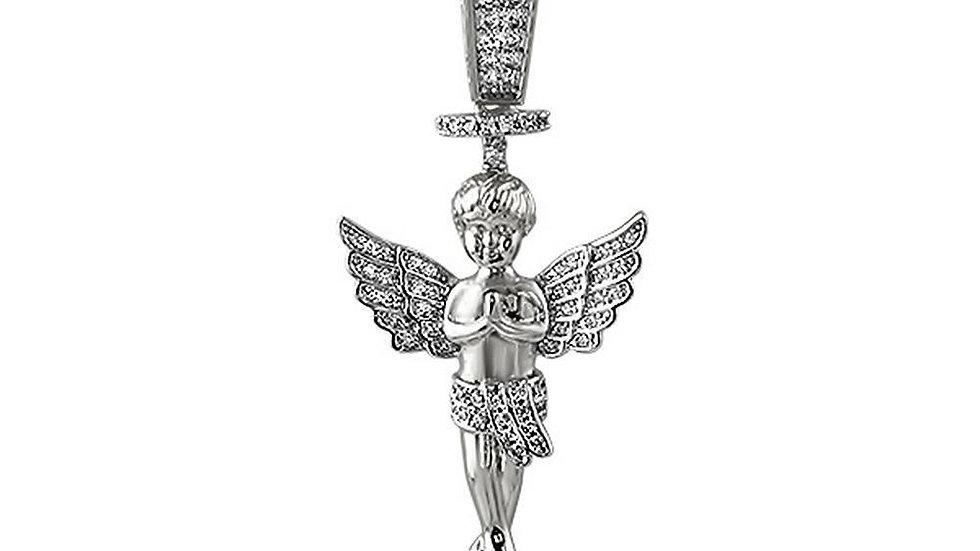 Halo Angel CZ Mini Pendant Rhodium