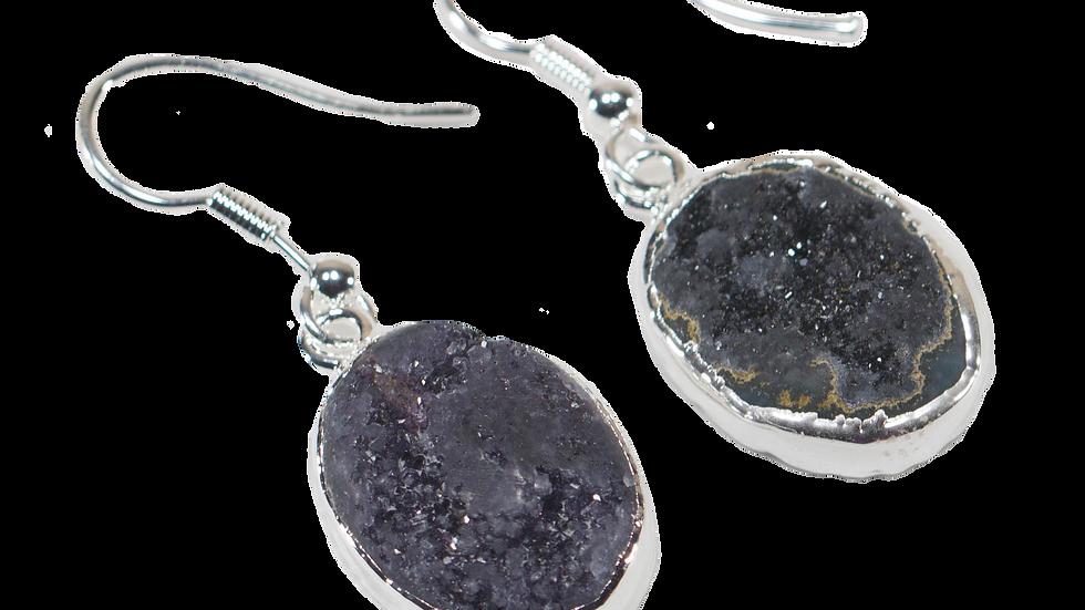 Druse Amethyst Earrings with Silver