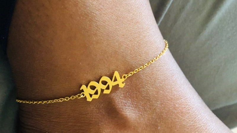 Birth Year Anklets for Women Foot Jewelry Stainless Steel