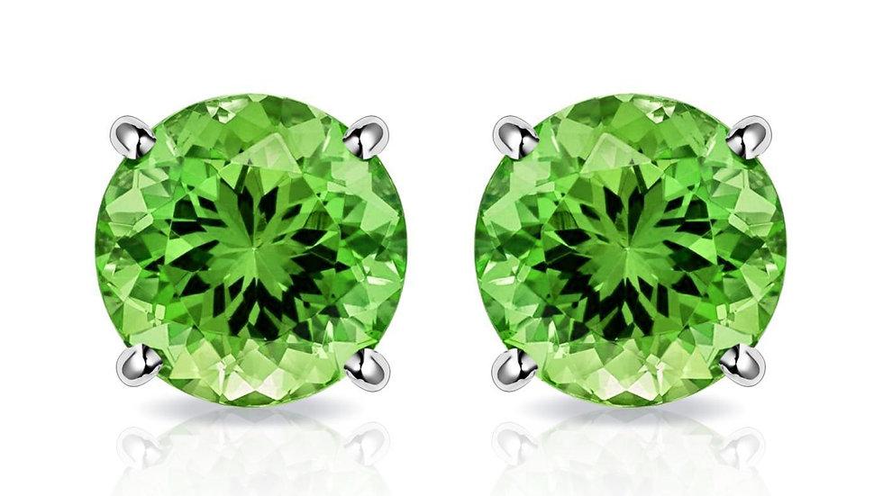 Peridot Created Swarovski Crystal 6mm Stud Earring