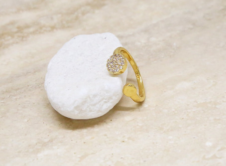 Open Love 18k Gold Plated Ring with Crystals