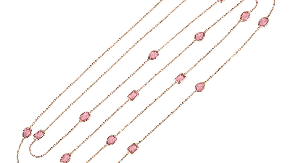 Venice 120cm Long Chain Necklace Rosegold Pink Tourmaline