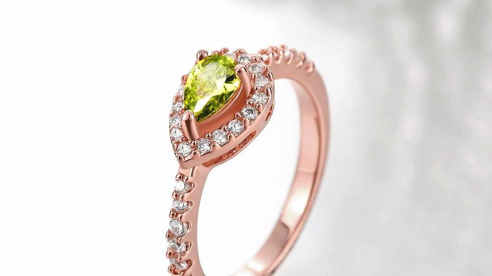 18K Rose Gold Plated Pear Cut Peridot Green