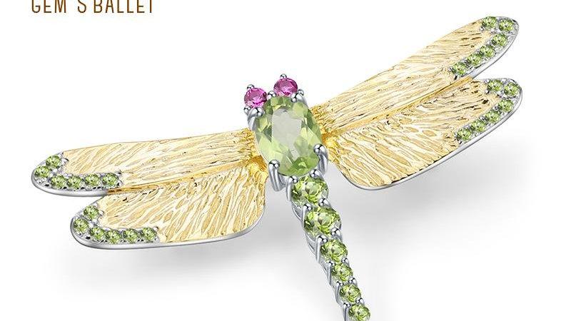 1.13Ct Natural Green Peridot Gemstone Brooch 925 Sterling Sliver