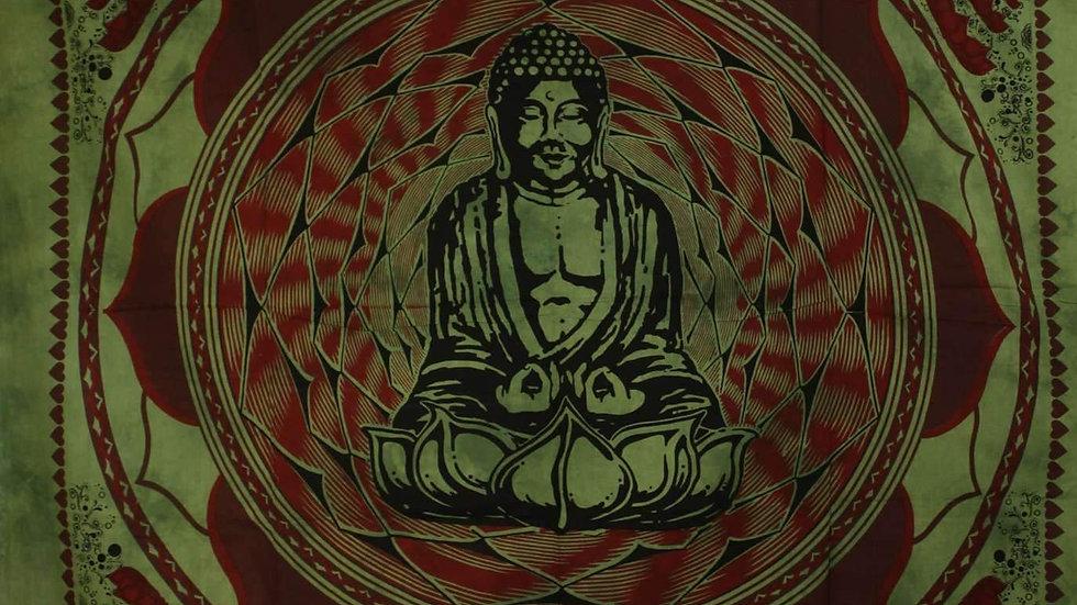 Green Buddha In Dharma Chakra Mudra On A Lotus Flower Tapestry