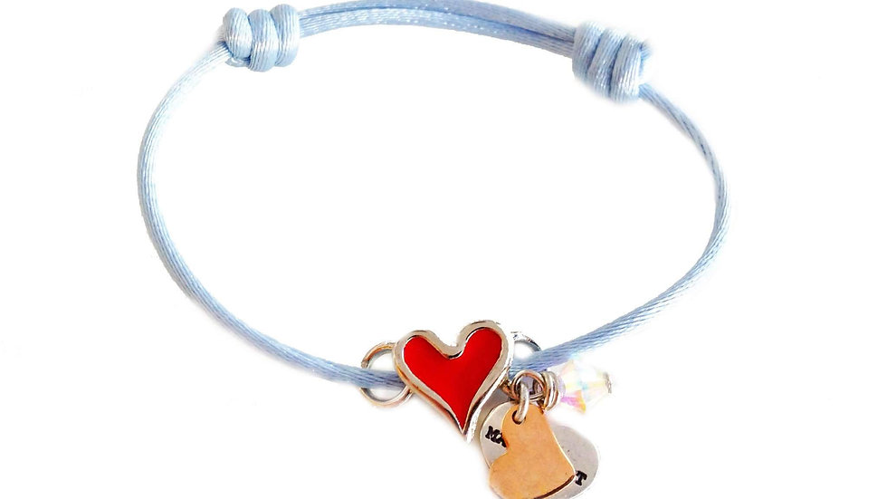 Red heart shaped charm cord bracelet