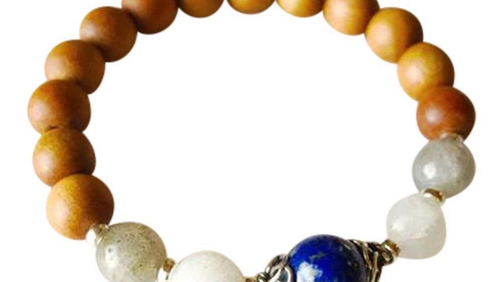 Sandalwood, Lapis Lazuli, Labradorite & Moonstone Sterling Silver
