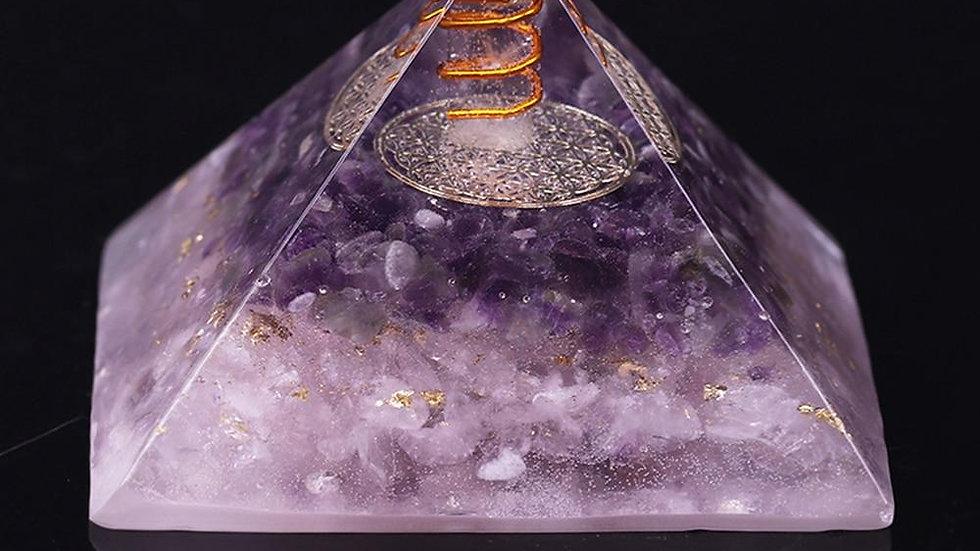 Natural Amethyst Orgonite Pyramid Energy Converter Orgone Aura Chakra
