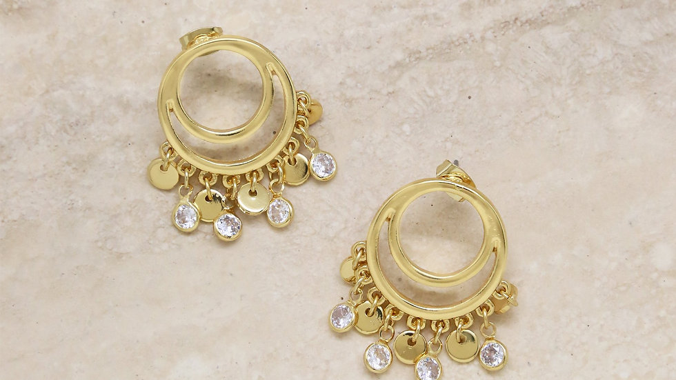 Cutout Charm Crystal Dangle 18k Gold Plated Earrings