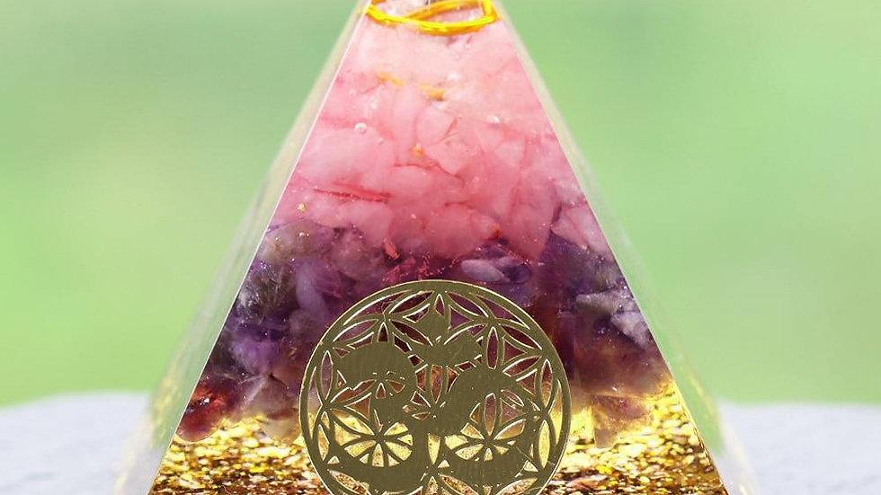 Rose Quartz Healing Orgone Pyramid with om Symbol Energy Generator
