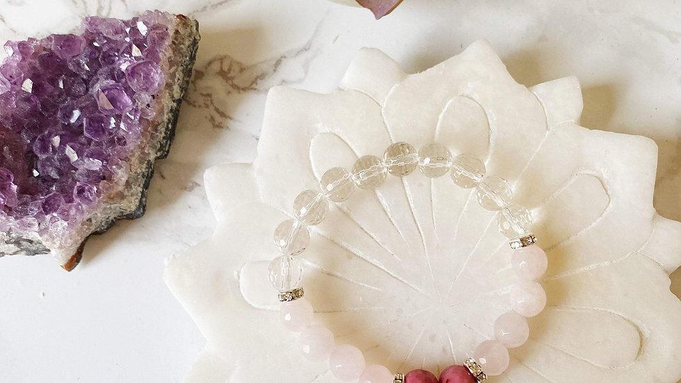 Crystal Quartz, Rhodonite & Rose Quartz Bracelet