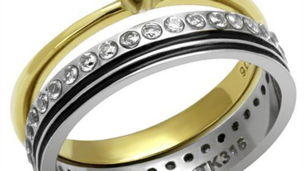 Women Stainless Steel Cubic Zirconia Rings TK3108