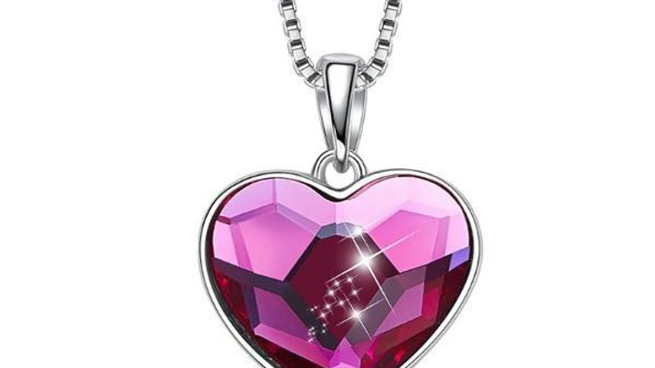 Pink Swarovski Elements Heart Shaped Necklace in 14K White Gold