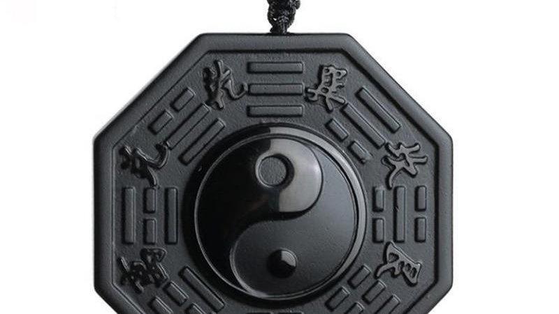 Black Obsidian Yin Yang Necklace Pendant