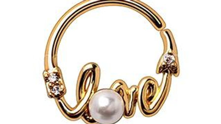 """Gold Plated Jeweled """"LOVE"""" Annealed Seamless Ring"""