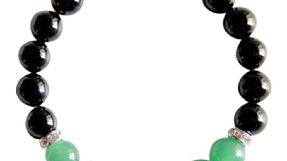 Black Onyx & Green Aventurine Sterling Silver Bracelet