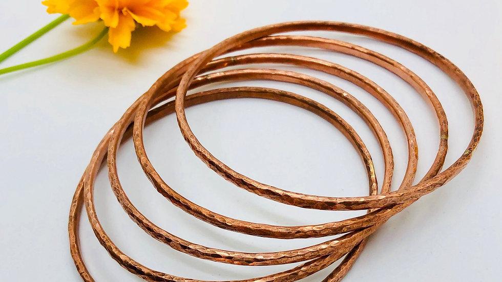 Hammered Copper Bangles