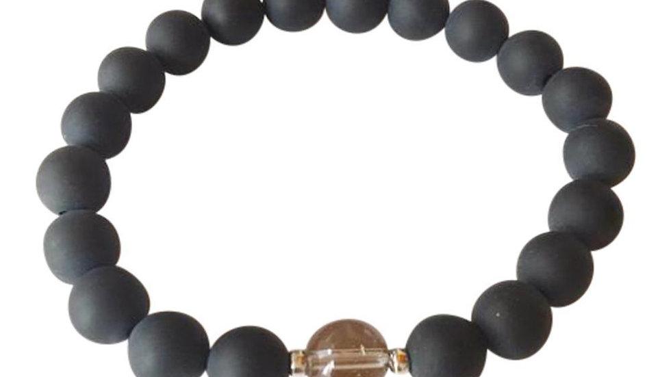 Matte Black Onyx & smoky Quartz Sterling Silver Bracelet