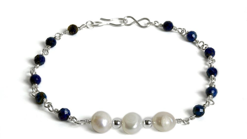 Lapis Lazuli and Freshwater Pearl Sterling Silver Chain Bracelet