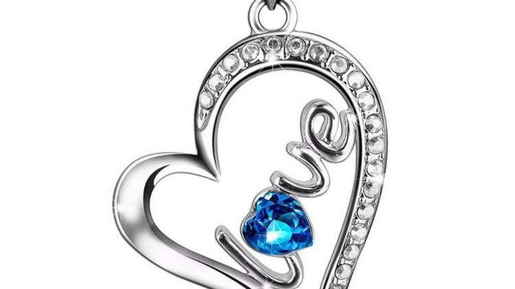 Blue Swarovski Elements Pav'e Heart Shaped