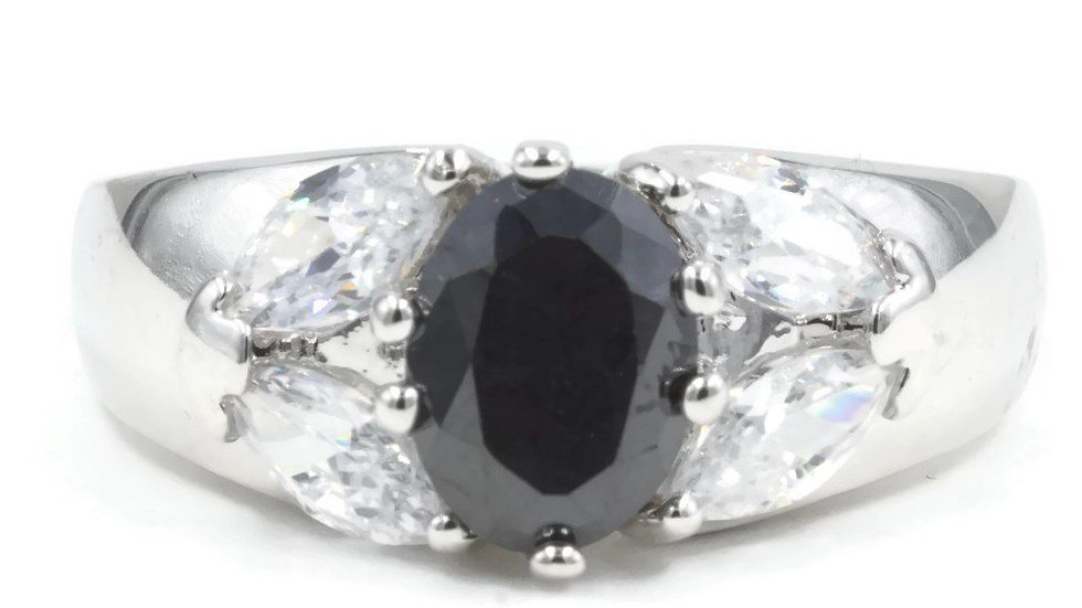 Dome Faceted Oval Jet Black Stone Clear Marquise Ring