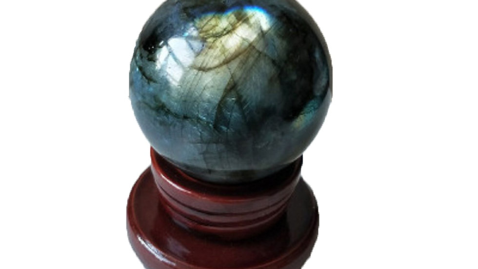 Natural Crystal Quartz Ball Labradorite