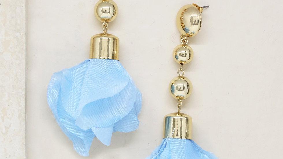 Flower Petal Drop Earrings in Blue and Gold