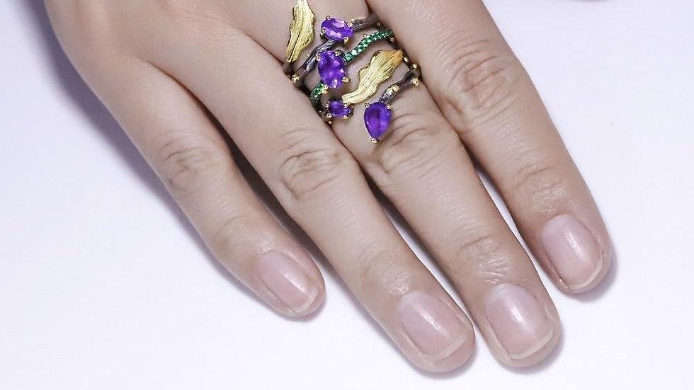 2.26Ct Natural Amethyst Gemstone Finger Ring 925 Sterling Sliver