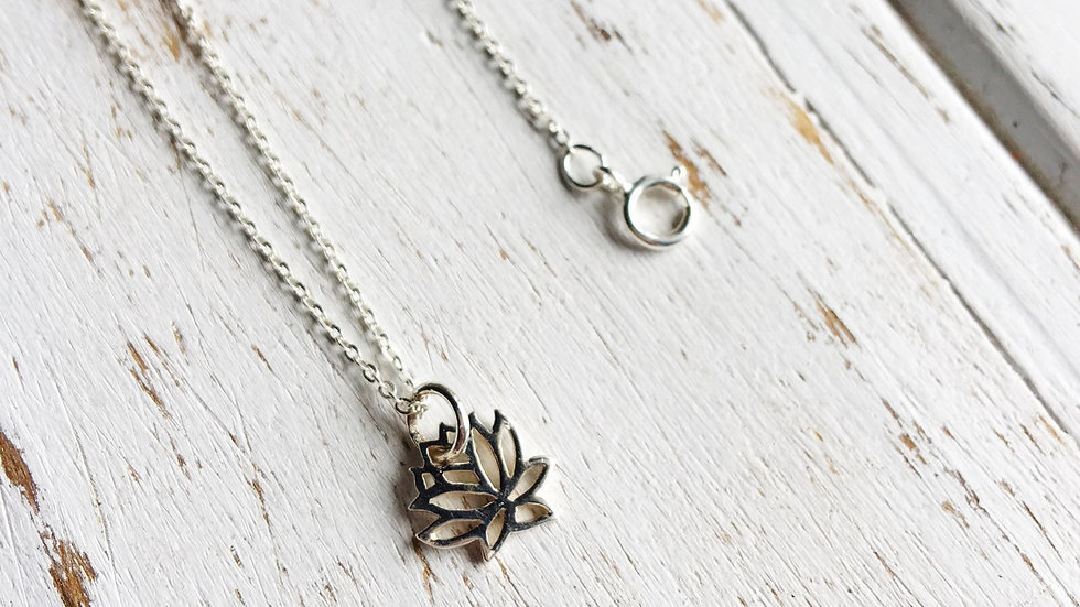 Full Lotus  Sterling Silver Necklace