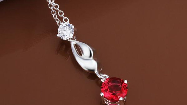 Ruby Necklace in 18K White Gold Plated with Swarovski Crystals