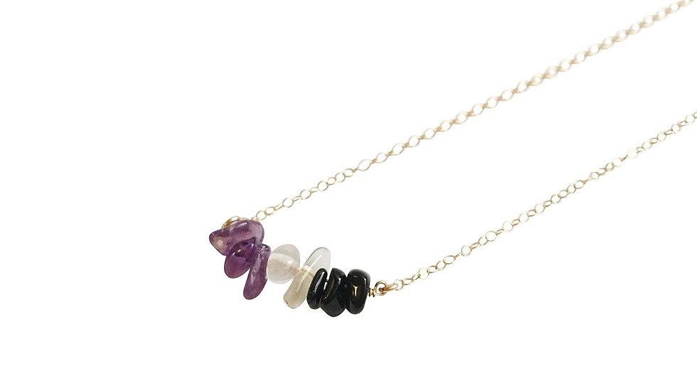 Amethyst, Crystal Quartz and Black Onyx Gemstone Necklace
