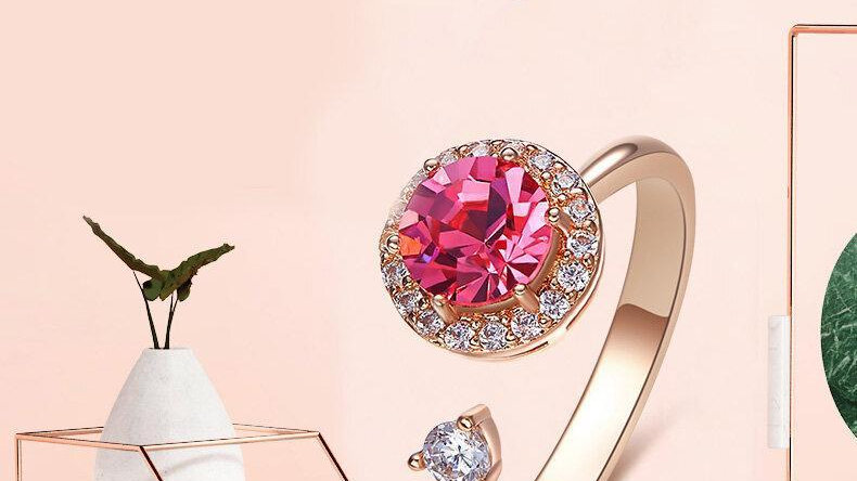 Swarovski Crystals Pink Topaz Pave Adjustable  Ring