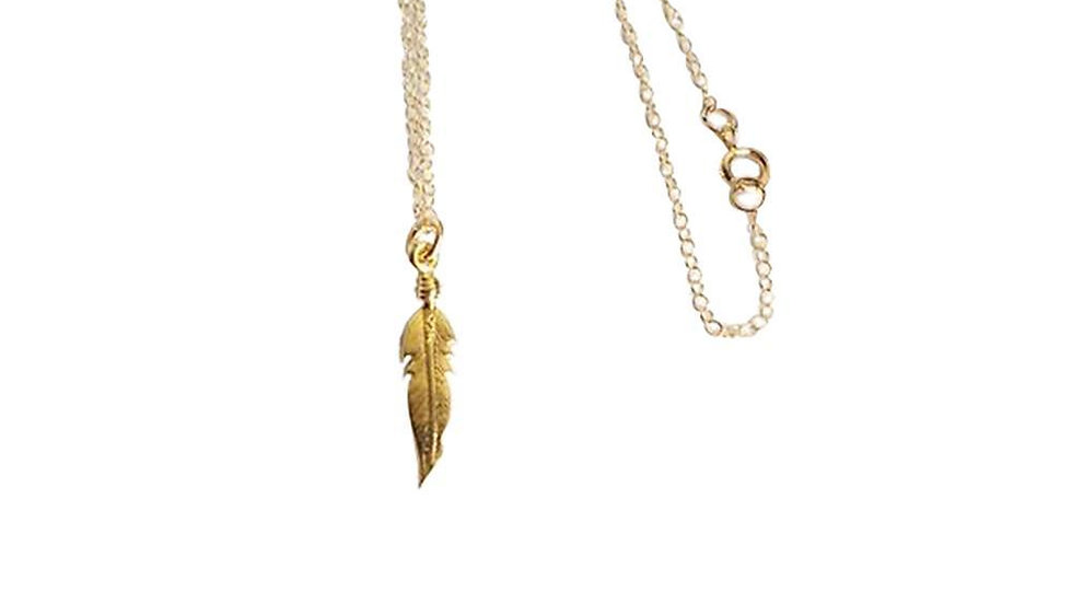 Spiritual Growth - Feather - 14k Gold Filled Necklace