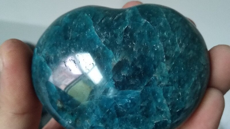 1pc Natural Blue Apatite Polycrystalline Stone Crystal Heart