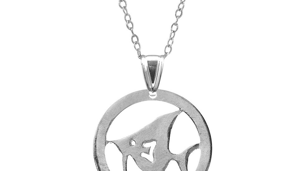 Angel Fish Disc Paradise Silver Necklace Pendant