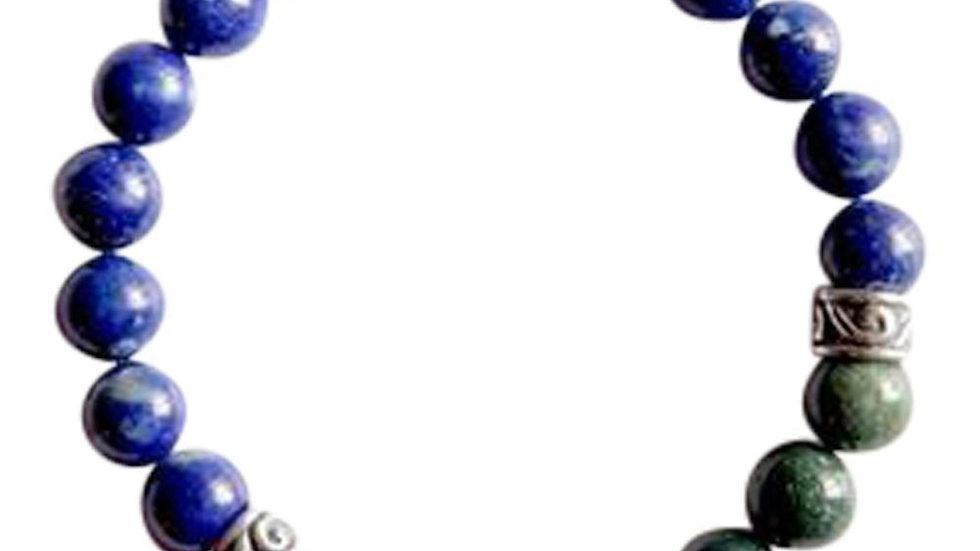 Bloodstone & Lapis Lazuli Sterling Silver Bracelet