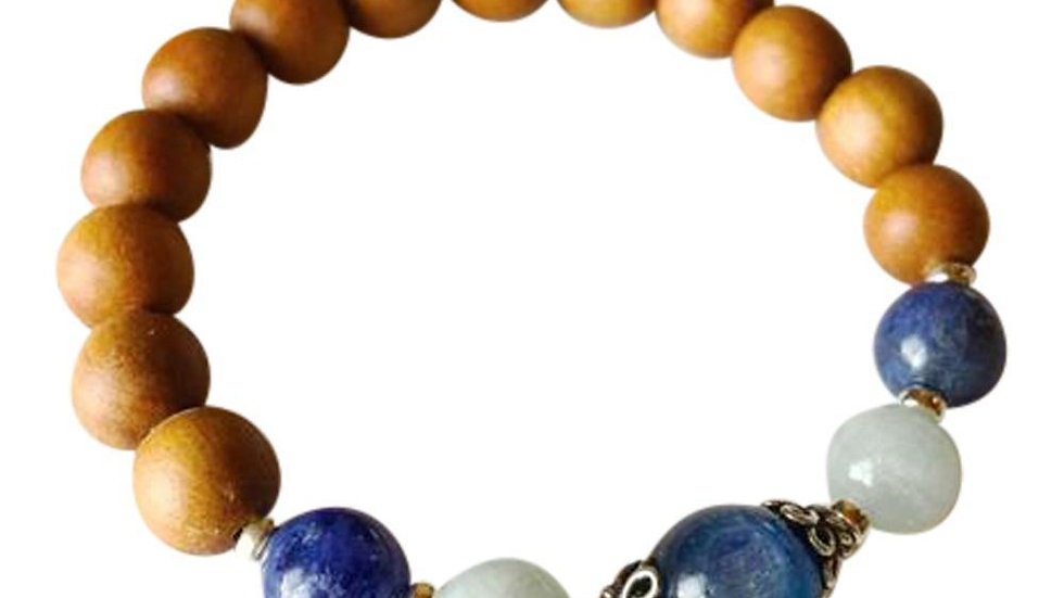 Sandalwood, Kyanite, Aquamarine & Sodalite Sterling Silver Bracelet