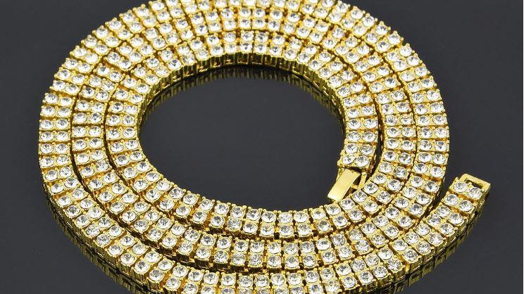 970182 - 2 Row Tennis 14K Yellow Gold Plated Chain