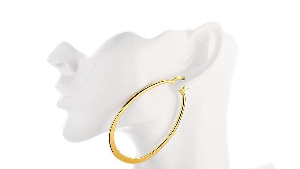 """2.80"""" Flat Oval Hoop Earring in 18K Gold Plated"""