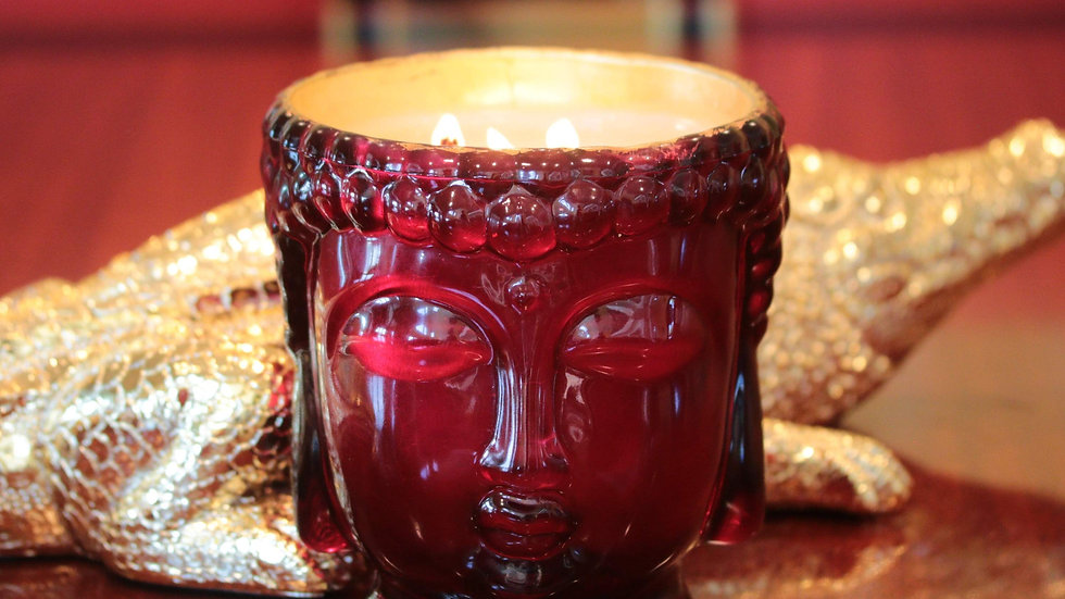 Elizabeth II   Ruby Red Glass Buddha Lined with 24K Gold