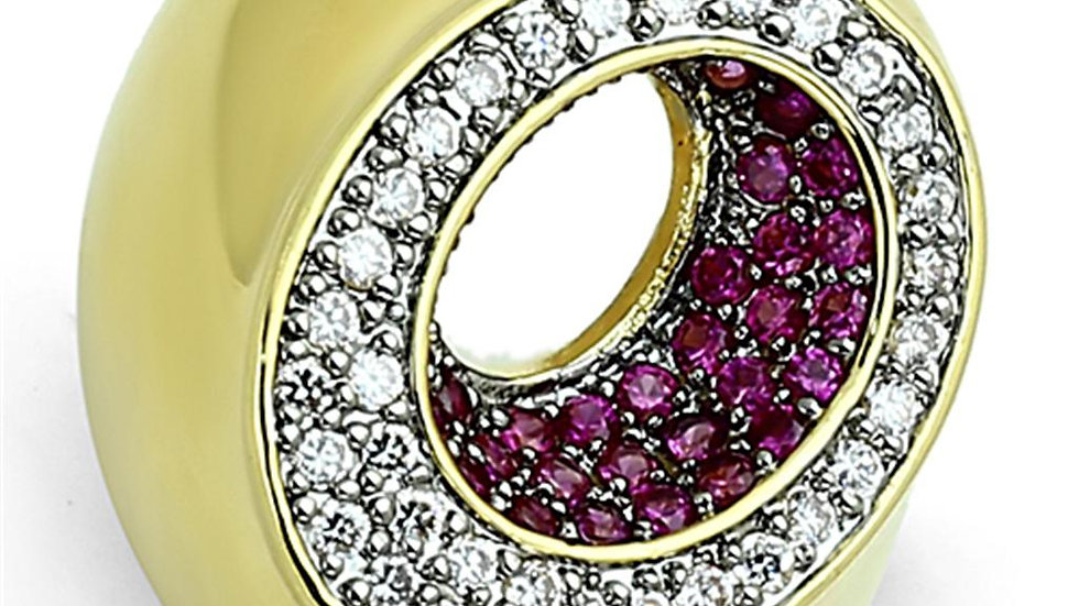 LOA902 Gold+Ruthenium Brass Ring with AAA Grade CZ